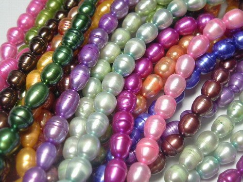 wholesale 30 strand 7-8 mm rice freshwater pearl string