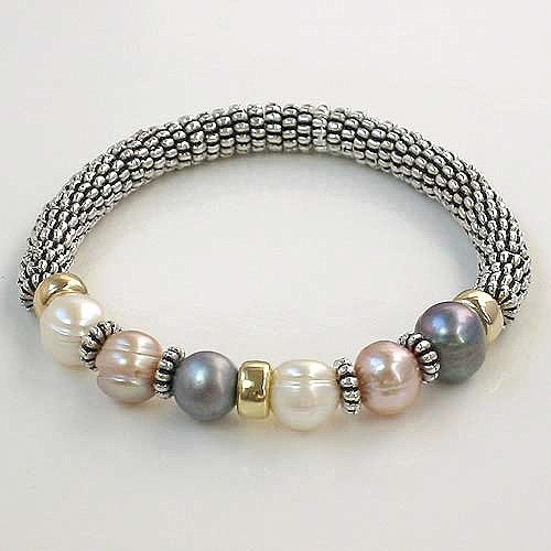 UNIQUE 7-8MM 3-COLOR CULTURED PEARL BRACELET