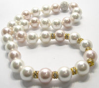 SUPERB 12mm WHITE PINK SOUTH SEA SHELL PEARL NECKLACE