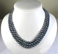 3rows BLACK Genuine Cultured Pearl Necklace
