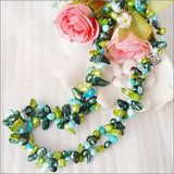 "19"" double strands green blue pearl necklace"