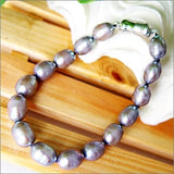 "7.5"" 8x10mm silver color pearl bracelet"