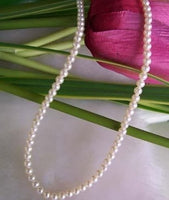 16'' ivory white small pearl necklace 925 silver