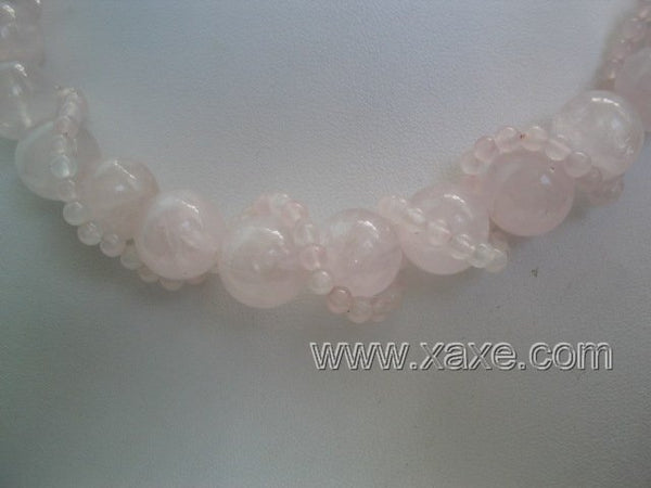 "17"" 2 strand pink jad necklace"
