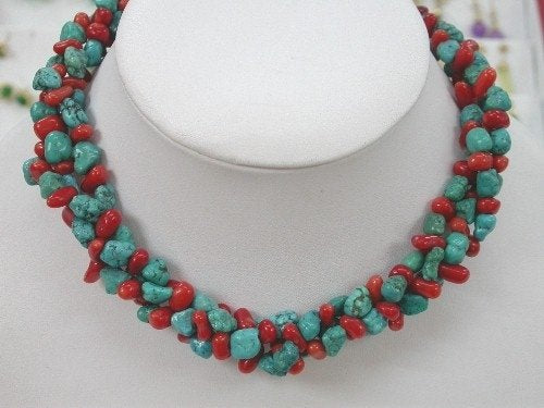 "15"" 3 strands turquoise and coral necklace choker"