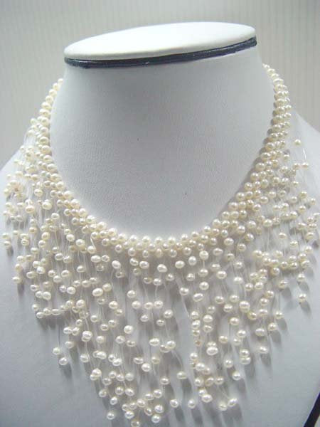 "exquisite 15"" white pearl necklace"