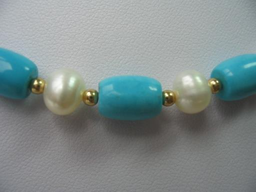 "18"" exquisite pearl/turquoise/gild beads necklace"