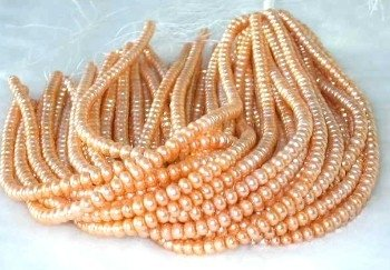 "wholesale 16"" 6-7mm orange red pearl necklace strings"