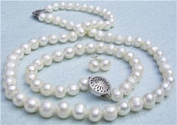 18'' 8mm White Pearl Necklace Bracelet Earring Set