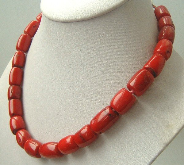 bigger red color coral drum necklace 9k clasp