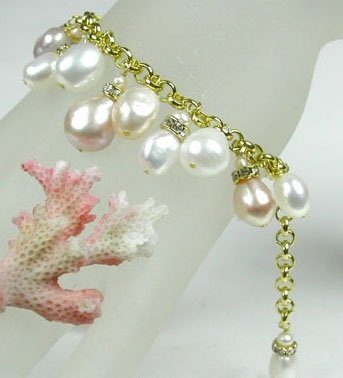 13mm Baroque FW Cultured Pearl Bracelet Charms