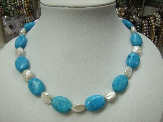 "17"" Blue Turquoise and Fresh Water Pearls Necklace"