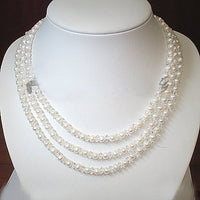 3ROWS white cultured pearl&crystal Necklace 925S