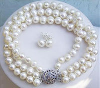 20'' 3row White Pearl Necklace Bracelet Earring Set