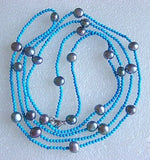 44'' long 3-4mm turquoise bead and pearl necklace