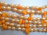 6 strand pink pearl and coral necklace