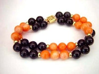 7.5'' 2row coral and agate bead bracelet