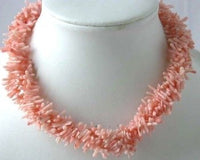 "17"" 4-row pink branch coral necklace"