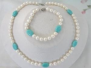 "Beautiful! 16"" 7-8mm white FW Pearl and Turquoise Necklace set"