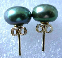 Wholesale 10 pairs 9-9.5mm green pearl S925 earring