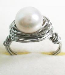 Wire wrapped ring - white pearl with silver copper