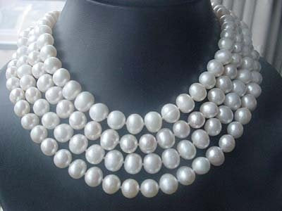 wholesale 4PCS white FW pearl 10mm necklace