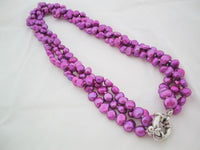 3 rows purple freshwater pearl necklace