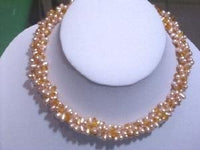 "16"" 3 Rows pink freshwater pearl&yellow crystal necklace"