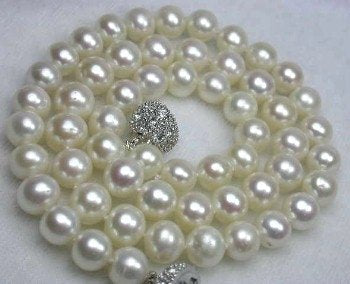 "17"" lustrous 7-8mm white pearl necklace"