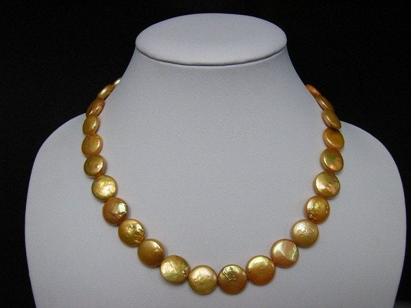 14MM 17'' Golden Fresh Water Pearls Necklace