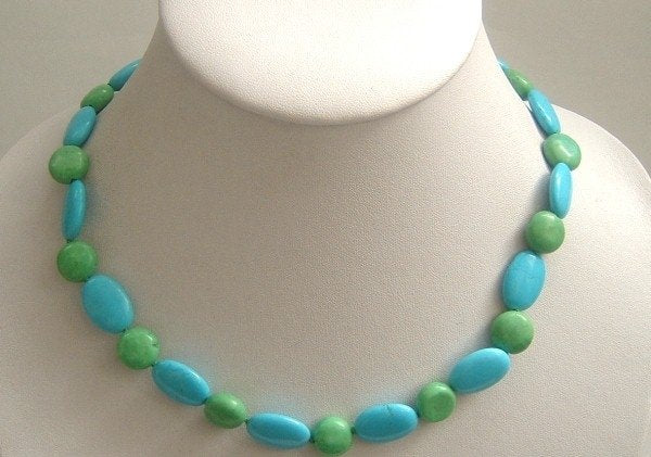 blue natural turquoise & green beads necklace