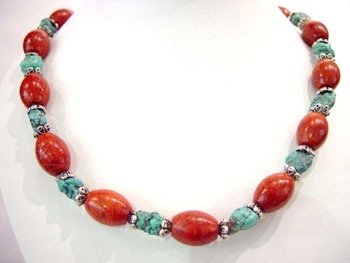 17'' red drum coral bead & old turquoise necklace