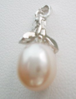 Pearl pendant on sterling silver bail - 10mm Soft Pink