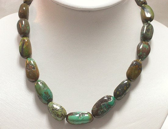 BEAUTIFUL 16'' 12-22mm NATURAL OLD TURQUOISE NECKLACE
