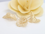 10 pcs 24k gold plated cubic floral hat brass spacer beads  brass caps brass connector