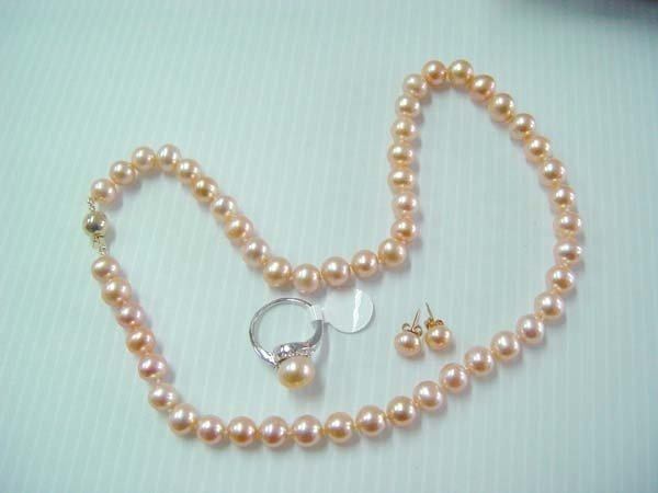 "17.5"" 7-8mm pink pearl necklace set"