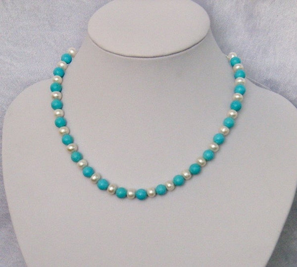 "17"" 8MM Fresh Water Pearls and Turquoise Necklace"