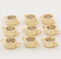 5 pcs 24k gold plated small zircon connector brass spacer beads  brass caps brass connector