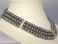 "Beautiful! 15.5""-17.5"" 3Rows peacock FW pearl necklace"