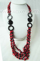 Multistrands Coral Chips & Agate Long Necklace