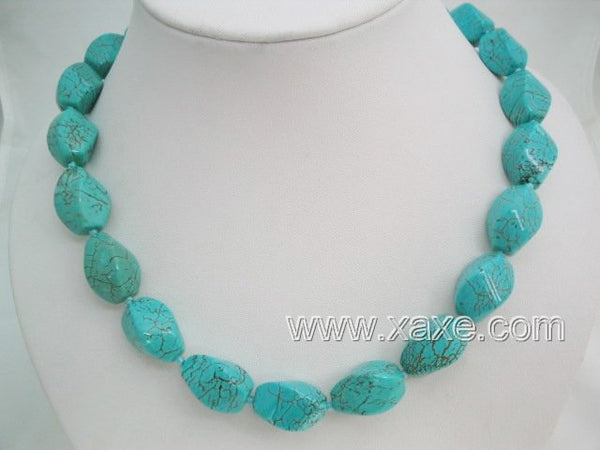 Cyan color turquoise bead necklace - 6 facet shape