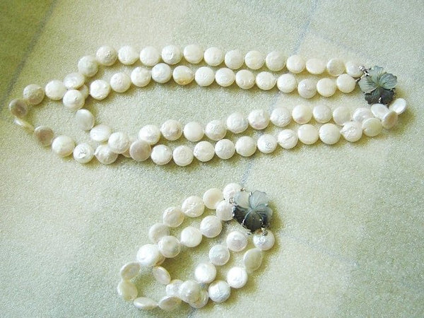 2 Rows White Coin Pearl Necklace Bracelet Earrings Set Shell Flo