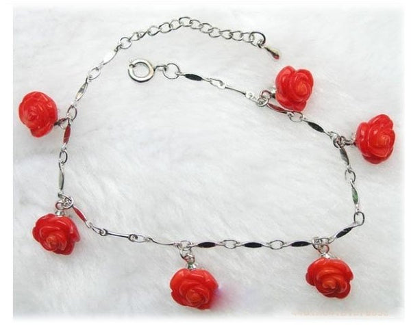 Red coral flower charms 14kgp chain