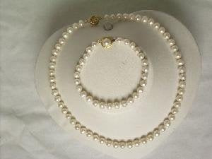 "Beautiful! 17"" 6.5-7.5mm white cultured FW pearl necklace&7.5"" b"