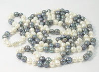 51'' 8-9MM WHITE BLACK CULTURED PEARL NECKLACE