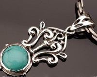Special design turquoise pendant sterling silver