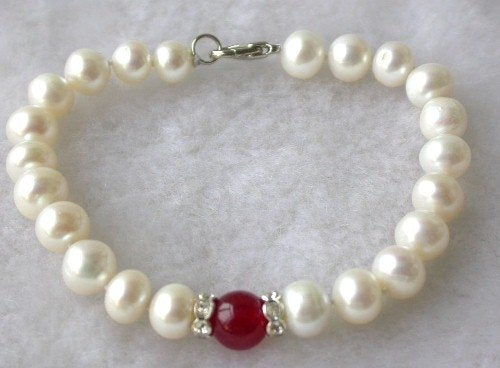 Beauty 7.5'' 7-8mm white pearl red jade bracelet