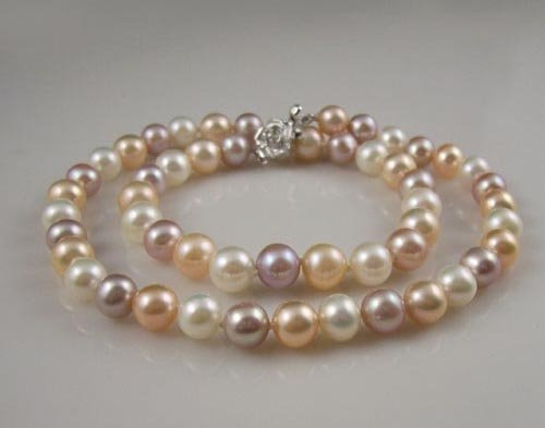 "17"" 7-8mm multi color pearl necklace"
