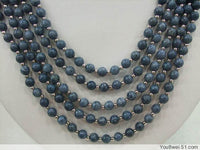 5 Strands Blue Sponge Coral Necklace Shell Flower