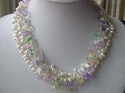 19'' 3-STR white FW pearl crystal necklace